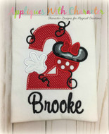 Minny Mouse Two Applique Design