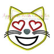 Love Cat Emoji Applique Design