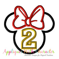 Minny Mouse Head Two Applique Design
