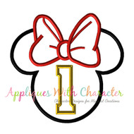 Minny Mouse Head One Applique Design