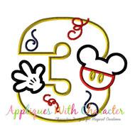 Mickie Mouse Three Applique Design
