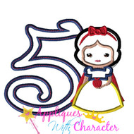 Snow White Cutie Five Applique Design