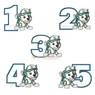 Paw Rocky One Two Three Four Five Set  Applique Design