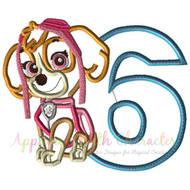 Paw Sky Pup Six Applique Design