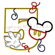 Mickie Mouse Five Applique Design