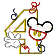Mickie Mouse Four Applique Design