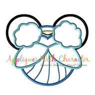 Cinderella Mickey Head Applique Design