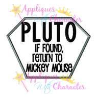 Pluto Dog Tag Applique Design
