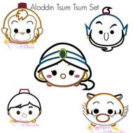 Princess Jasmine, Raja, Aladdin, Genie, Abu Tsum Tsum Applique Design