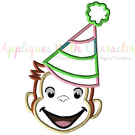 Curious George Party Girl Applique Design