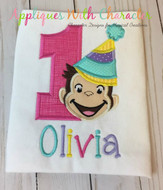 Curious George One Girl Applique Design