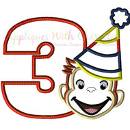 Curious George Three Boy Applique Design