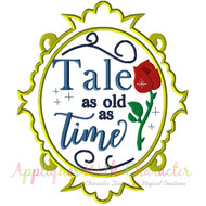 Exclusive Bella Tale As Old As Time Mirror Applique Design