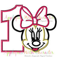 Minny Mouse Number One Applique Design