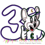 Chuck E Cheeze Three Applique Design