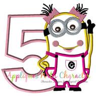 Minion Girl Five Applique Design