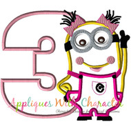 Minion Girl Three Applique Design