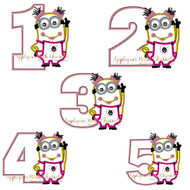 Minion Girl Number Applique Design Set