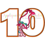 Poppy Troll Ten Applique Design