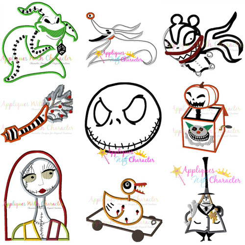 Character Design Nightmare Before Christmas : Nightmare before christmas applique design set by