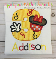 Minnie Three Applique Design