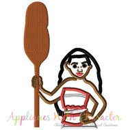 Moana With Paddle Applique Design