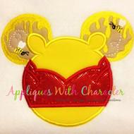 Pooh Mickey Head Applique Design
