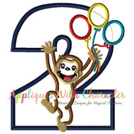 Curious George Two Balloons Applique Design