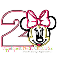 Minny Mouse Face Two Applique Design