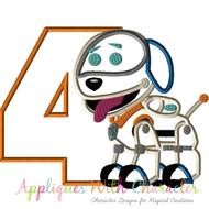 Robot Dog Four Applique Design