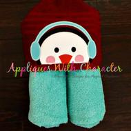 Winter Penguin Peeker Applique Design