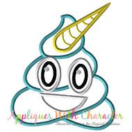 Poop Unicorn Emoji Applique Design