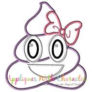 Poop Bow Emoji Applique Design