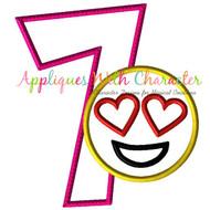 Love Emoji Seven Applique Design