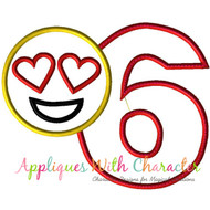 Love Emoji Six Applique Design