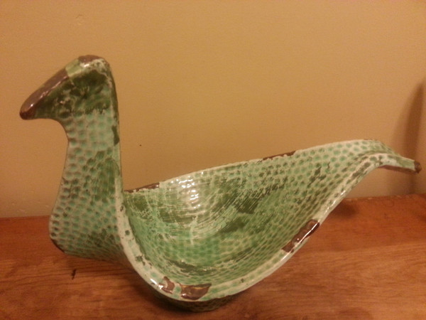 Ceramic Turquoise Bird Bowl