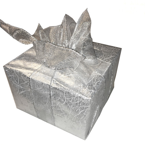 Silver Gift Wrap with Silver Bow