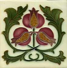 Porteous V73C Art Nouveau Pomegranate Tile