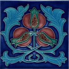 Porteous V73B Art Nouveau Pomegranate Tile