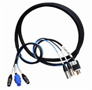 CBI 25ft Edison Male to Neutrik PowerCon In /  Dual XLR-M to XLR-F 25 Ft Powered Speaker Cable