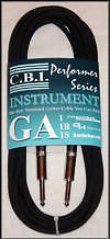 CBI GA1 Standard 20 Gauge 3ft, 6ft, 15ft Guitar 1/4 to 1/4 Cable