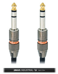 "Cable Up by Vu PM3-PM3-15-BLK  15 ft 1/4"" TRS Male to 1/4"" TRS Male Balanced Cable with Black Jacket"