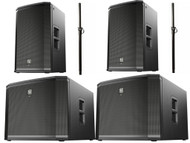 Electro-Voice ETX System (2)-15P Tops, (2)-18PS Subs Powered Speakers w/Poles!