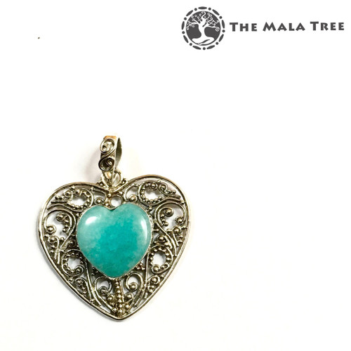 AMAZONITE HEART Lux Pendant (Set in High Quality Silver)