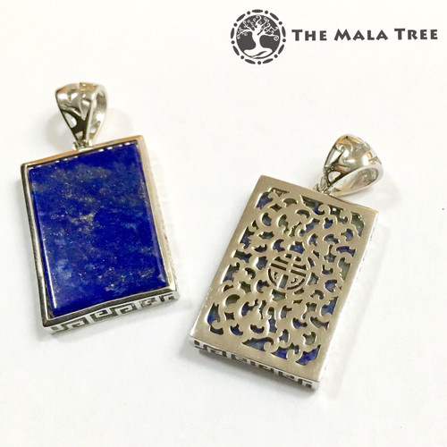 LAPIS LAZULI WITH DOUBLE HAPPINESS Double-Sided Lux Pendant (Set in High Quality Silver)
