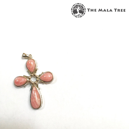 RHODOCHROSITE CROSS Lux Pendant (Set in High Quality Silver)
