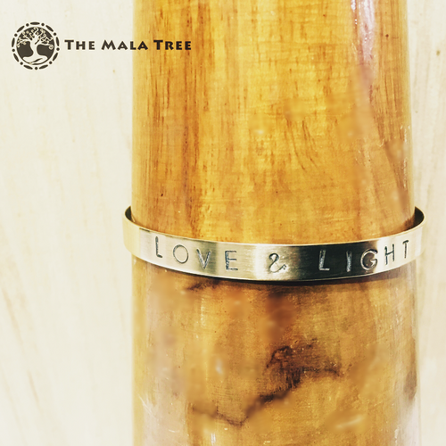LOVE & LIGHT Brass MantraCuff (100% Handmade / Adjustable)