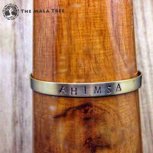 AHIMSA (Non-Violence) Brass Sanskrit MantraCuff (100% Handmade / Adjustable)