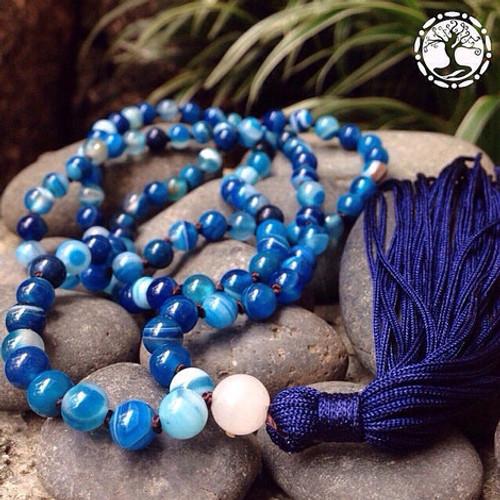 BLUE AGATE Classic 108 Japa Mala