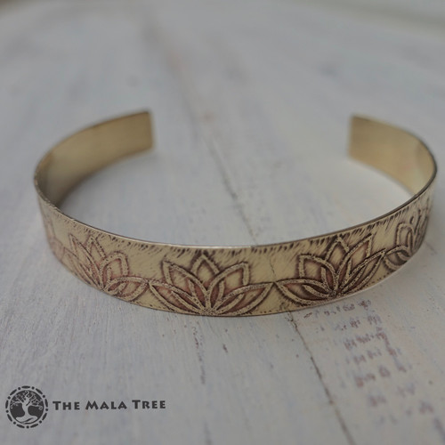 LOTUS Brass Healing Bangle (Handmade)